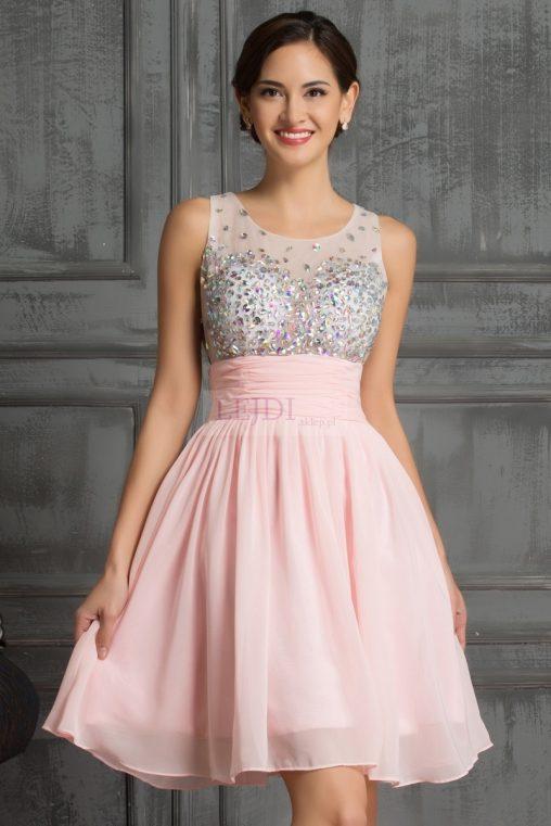 Sukienka z kryształkami na studniówkę, sylwestra, wesele, różowa