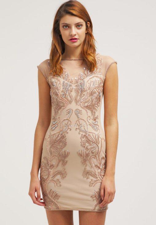 Obcisła sukienka mini na sylwestra lub wesele, beżowa