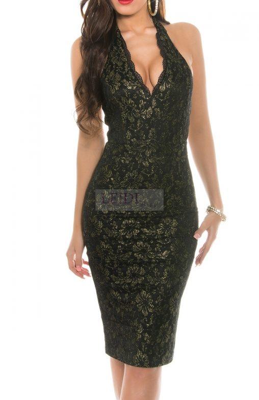 Wieczorowa sukienka na szyję, czarno - złota