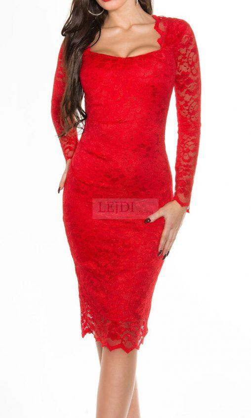 Wieczorowa koronkowa sukienka, czerwona