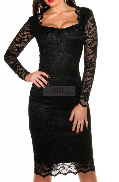 Wieczorowa koronkowa sukienka, czarna