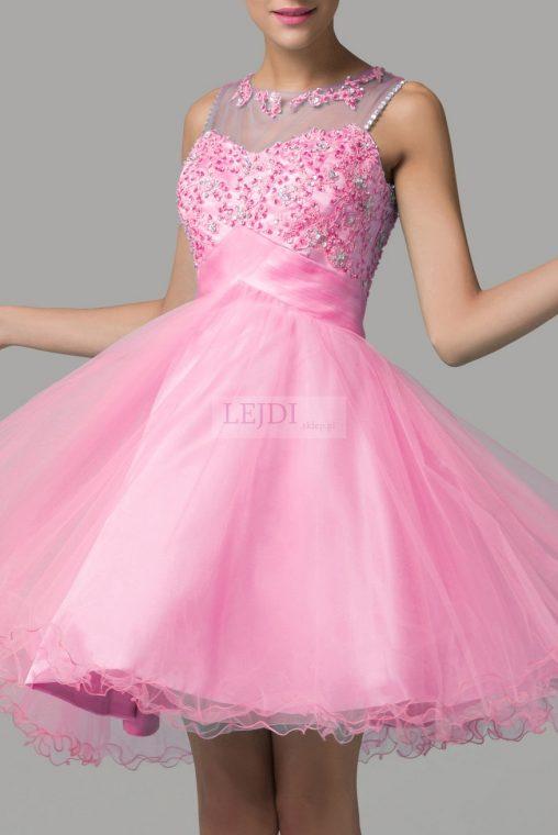 Tiulowa sukienka z kryształkami na studniówkę, różowa