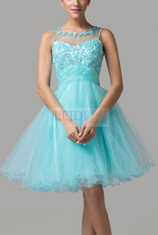 Tiulowa sukienka z kryształkami na studniówkę, turkusowa
