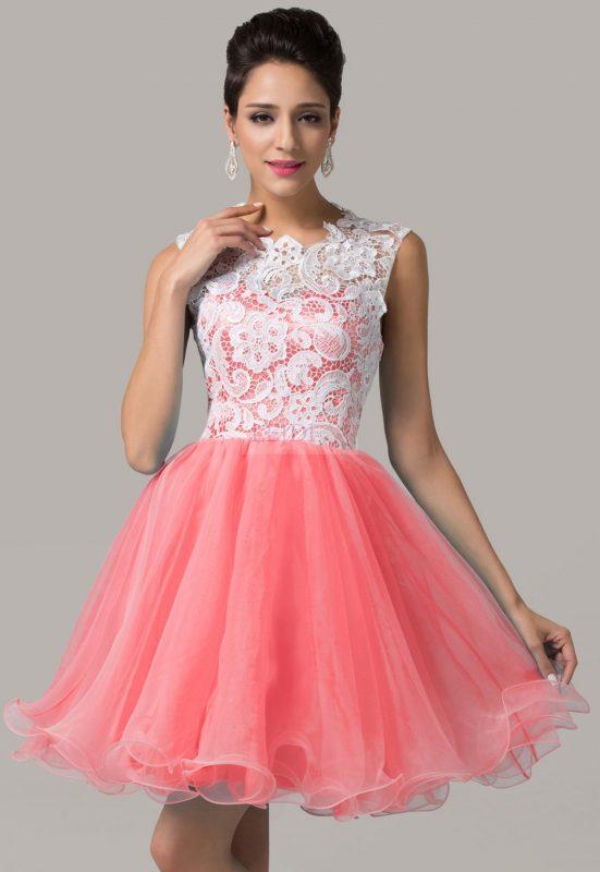 Balowa sukienka z koronki i organzy