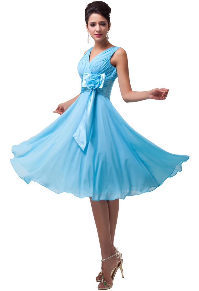 Szyfonowa sukienka wieczorowa plus size, niebieska