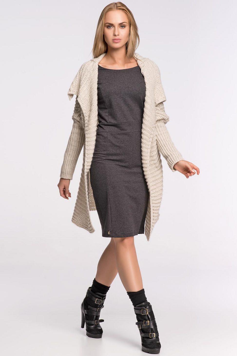 Stylowy sweter narzutka, beżowy