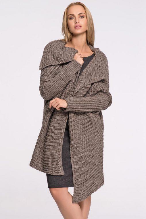 Stylowy sweter - narzutka, brązowy