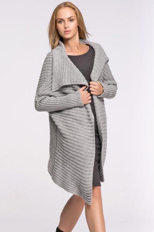 Stylowy sweter - narzutka, szary