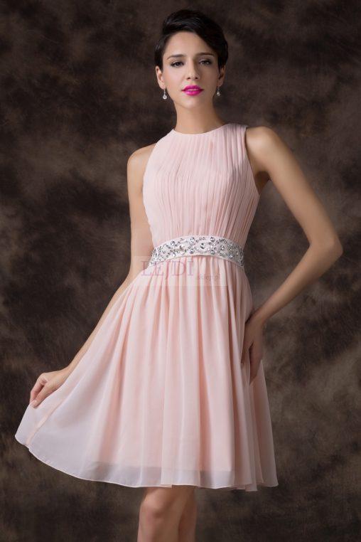 Szyfonowa sukienka wieczorowa, pasek z kryształkami, plus size