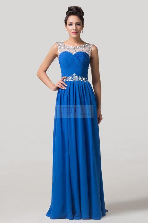 Długa wieczorowa suknia z kryształkami, niebieska