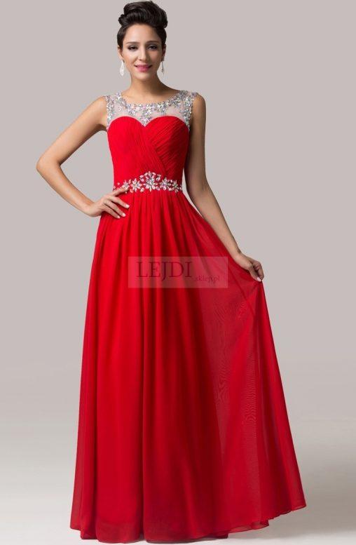 Długa wieczorowa suknia z kryształkami, czerwona