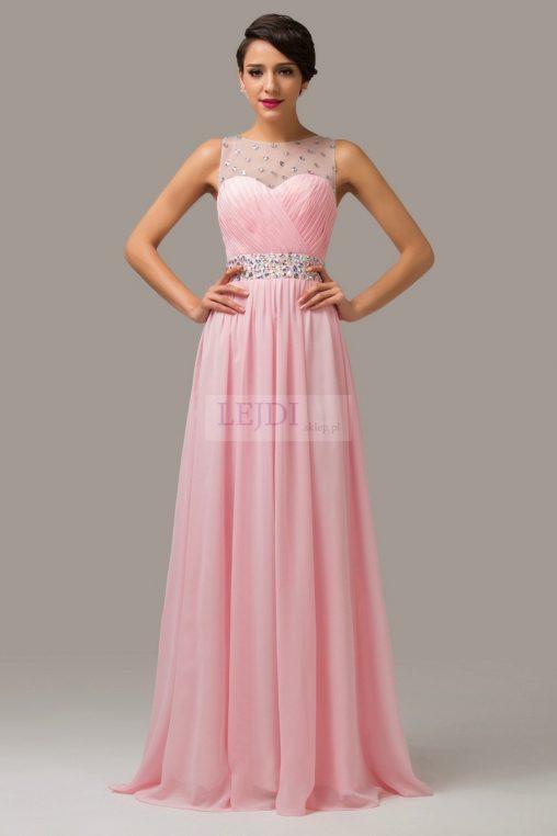 Długa wieczorowa suknia z kryształkami, różowa