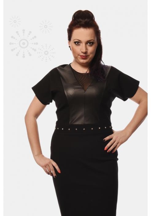 Sukienka plus size z elementami skóry, czarna