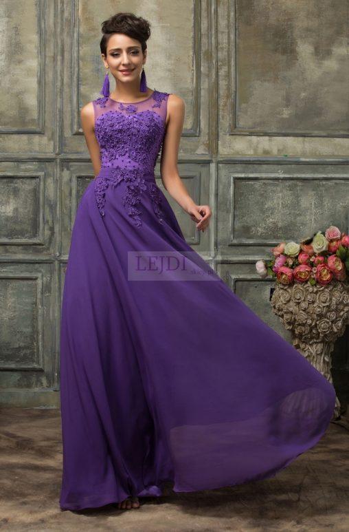 Długa wieczorowa suknia z perłami, fiolet