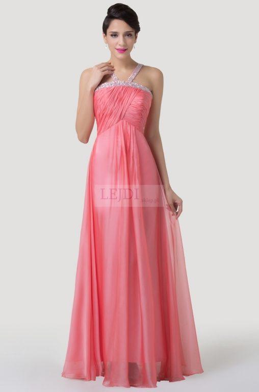 Długa suknia balowa z koralikami i cekinami