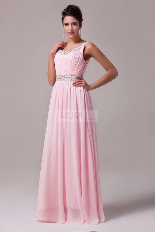 Długa suknia balowa z koralikami i cekinami, różowa