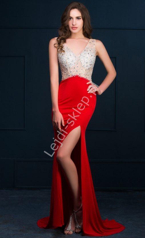 Czerwona długa suknia z kryształkami i cekinami, na wesele i sylwestra
