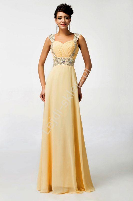 Dluga suknia wieczorowa z kryształkami, brzoskwiniowa