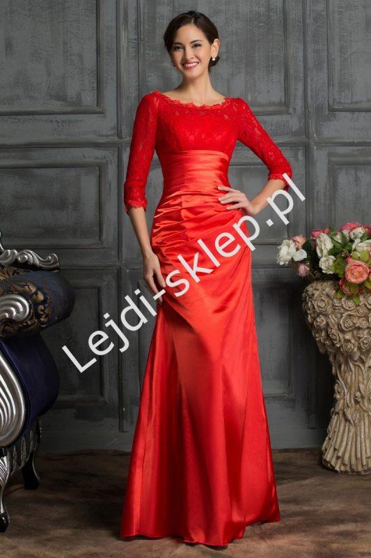Gorsetowa długa suknia wieczorowa, czerwona