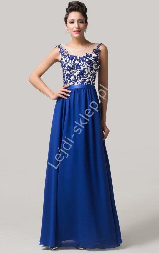Chabrowa sukienka wieczorowa z gipiurą
