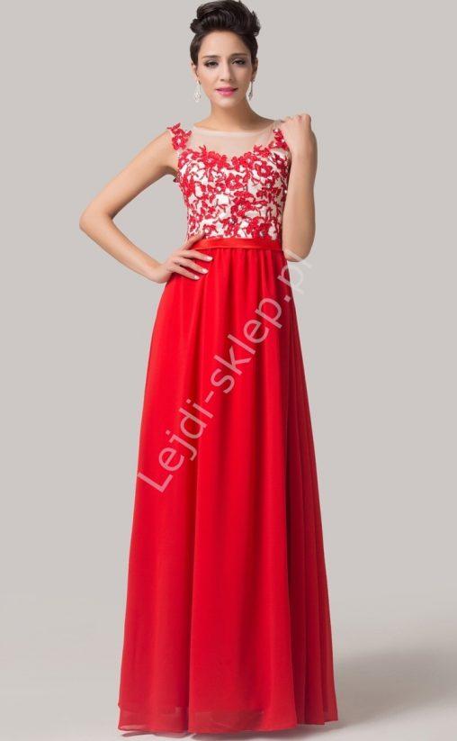 Czerwona sukienka wieczorowa z gipiurą