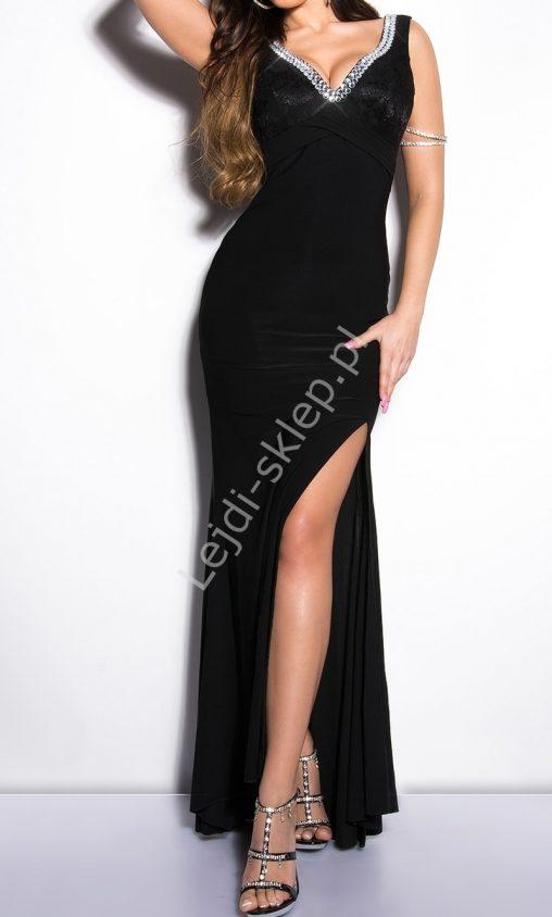 Czarna sukienka wieczorowa z koronka i kryształkami