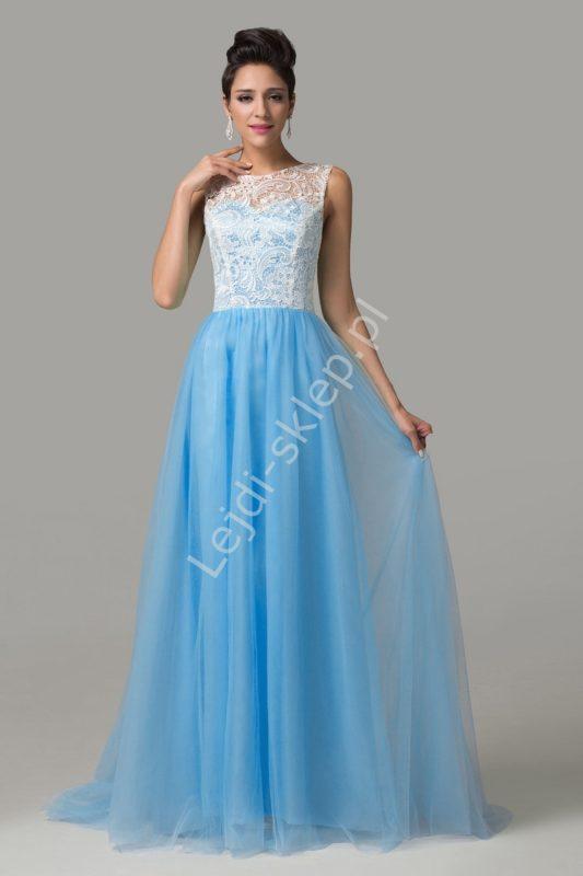 Długa suknia wieczorowa na wesele, niebieska