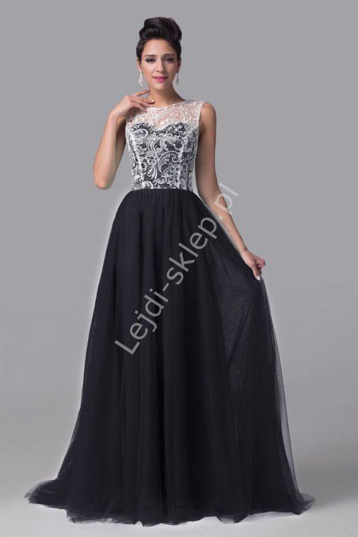 Długa suknia wieczorowa na wesele, czarna