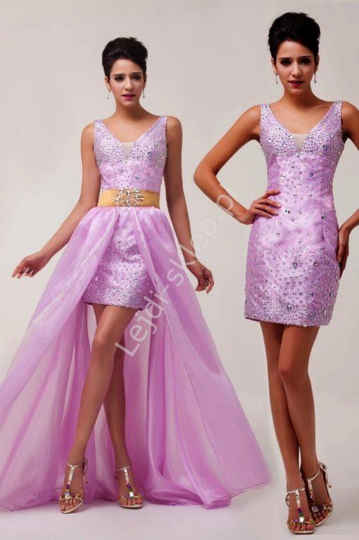 Suknia wieczorowa z kamieniami doczepiana spódnica