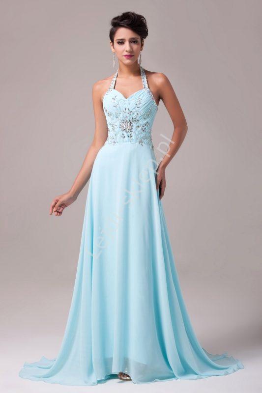 Długa suknia wieczorowa z kryształkami Swarovski