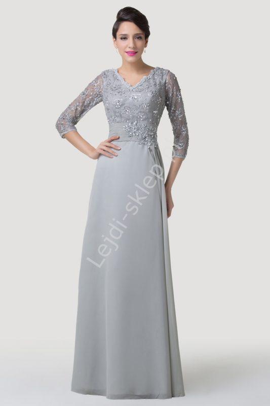 Szara elegancka suknia wieczorowa na wesele dla mamy