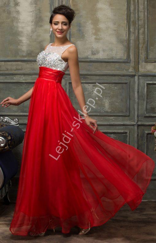 Długa suknia wieczorowa z kryształkami na wesele, czerwona