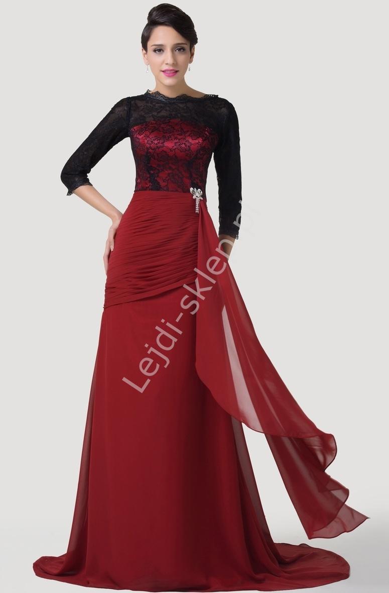 Elegancka długa suknia wieczorowa z koronką