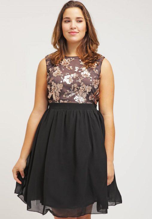 Plus size wieczorowa sukienka do kolan dla puszystych, czarna
