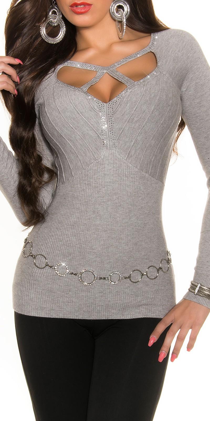 Sweter z kryształkami szary, sztuczny jedwab