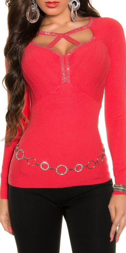Sweter z kryształkami koralowy, sztuczny jedwab