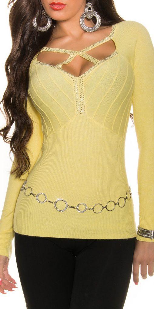 Sweter z kryształkami żółty, sztuczny jedwab