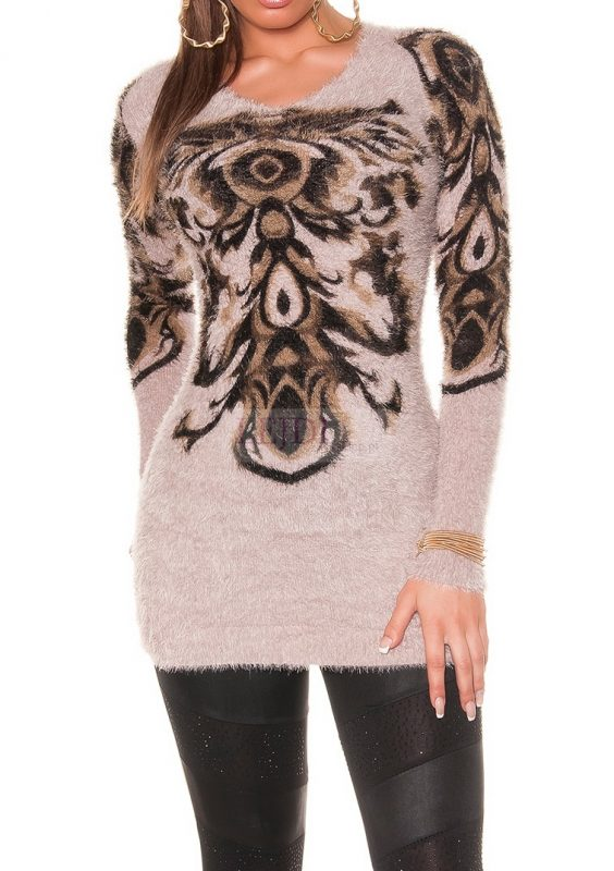 Sweter tunika z ornamentem na jesień i zimę