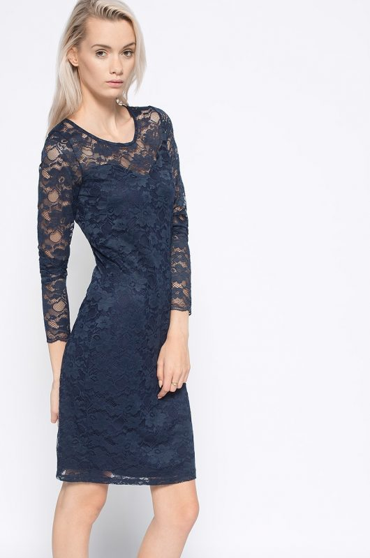 Koronkowa sukienka na wesele lub sylwestra, granatowa