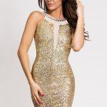 Złota sukienka z cekinami i siateczką