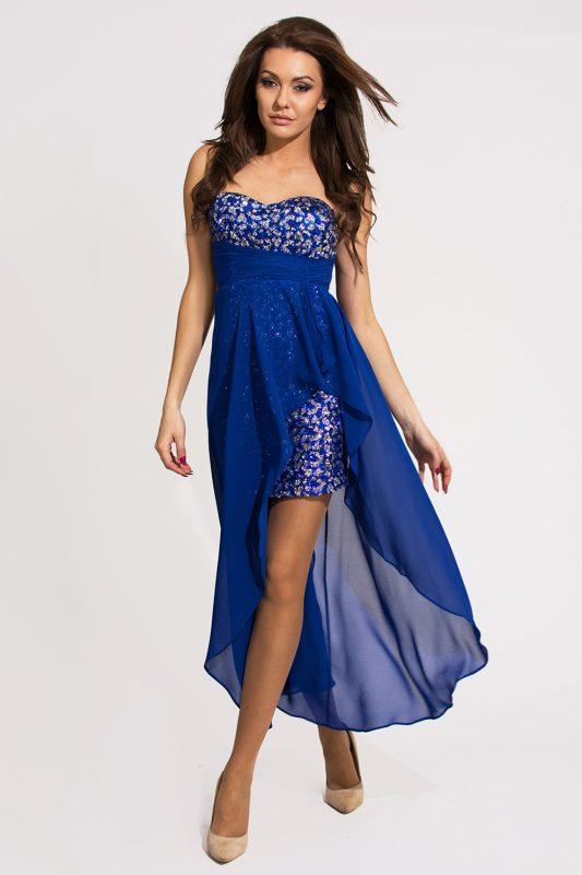 Wieczorowa mini sukienka z szyfonem i cekinami, niebieska