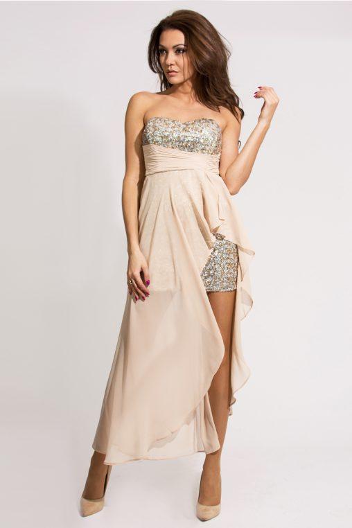 Wieczorowa mini sukienka z szyfonem i cekinami, brązowa