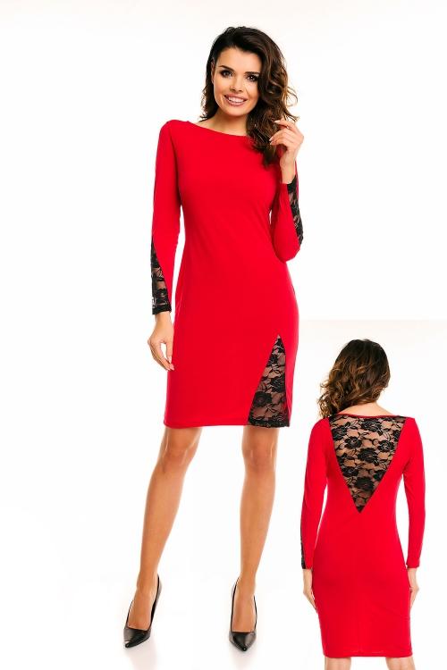 Elegancka czerwona sukienka z koronką przed kolano, na wesele