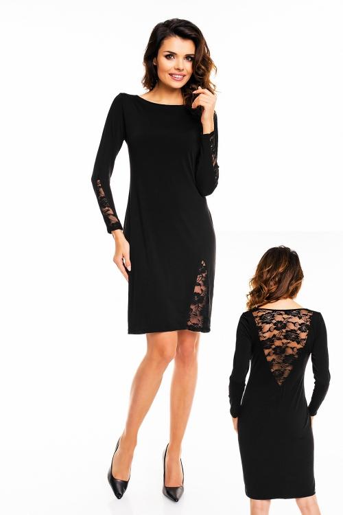 Elegancka czarna sukienka z koronką przed kolano
