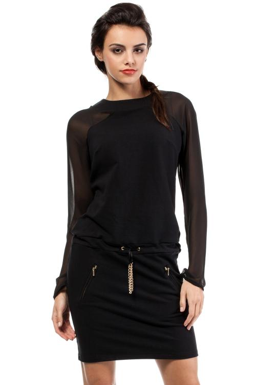 Koktajlowa sukienka długi rękaw czarna