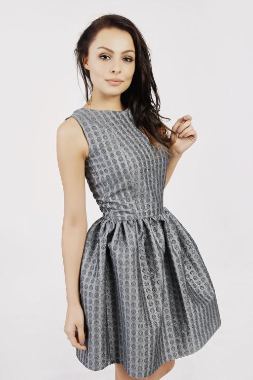 Srebrna rozkloszowana mini sukienka