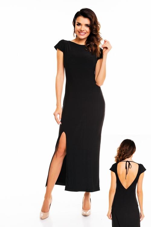 Długa wieczorowa sukienka maxi z rozcięciem, czarna