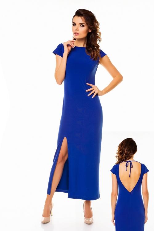 Długa wieczorowa sukienka maxi z rozcięciem, niebieska