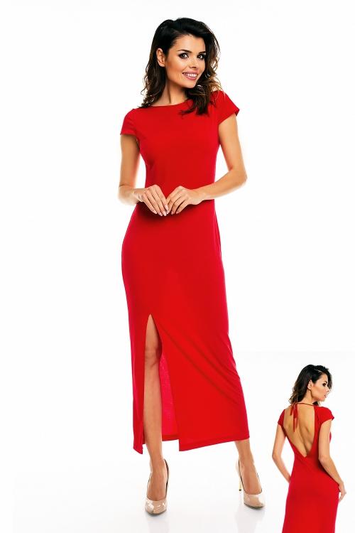 Długa wieczorowa sukienka maxi z rozcięciem, czerwona