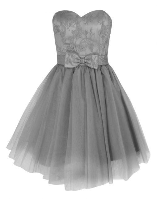 Gorsetowa sukienka z kokardką szara